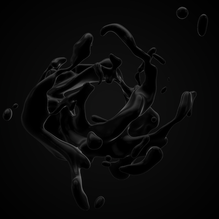 strange blackfluid movements without gravitation. 3d illustration Imagens