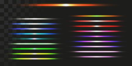 linear energy beams set. vector illustration of light trails.