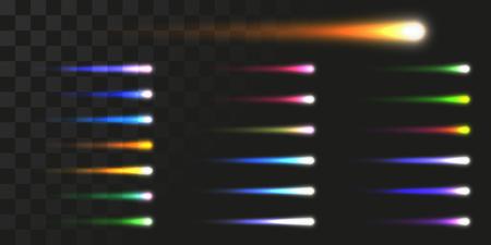 ensemble de faisceaux d'énergie linéaire. illustration vectorielle de la comète comme des traînées lumineuses.