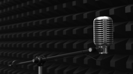 acuistic foam covered wall with condenser microphone. silent room concept. 3d illustration