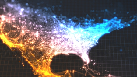 glowing city and human population density areas with linear connections between them. view of america. 3d illustration