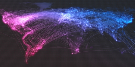 glowing city and human population density areas with bouncy line connections. view of entire world. 3d illustration