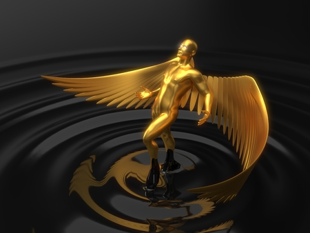 golden angelic character rising from black liquid. 3d illustration