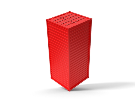 balanced on corner shipment container on white. 3d illustration 스톡 콘텐츠