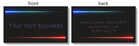 business card design with linear energy beam. with transparent glow effect. Illustration