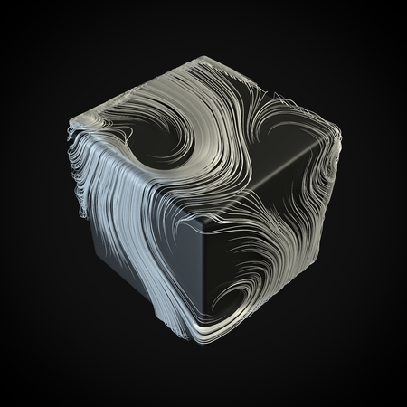 smoothly moving white hair lines around cube. 3d illustration 写真素材