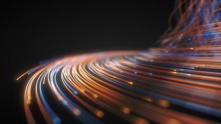 glowing fiber optic strings in dark. 3d illustration Imagens