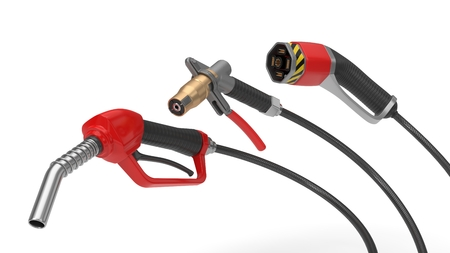fuel, gas and electric nozzle illustration in 3d. Stock fotó - 112469282