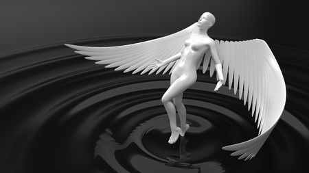 angelic ai concept. female character rising from black liquid. 3d illustration