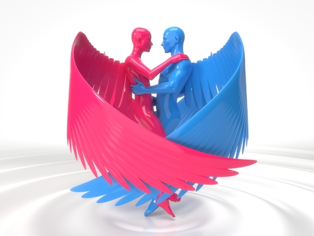 valentines day concept with angelic characters on liquid floor. 3d illustration