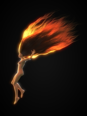 redhead female character with long hairs. suitable for hair, beauty and fashion themes. 3d illustration