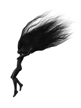 black female character with long hairs. suitable for hair, beauty and fashion themes. 3d illustration Stock Photo