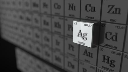 Periodensystem-Konzept mit Würfeln. Silberelement ausgewählt. geeignet für, Physik, Wissenschaft, Technologie und Bildung Themen. 3D-Darstellung