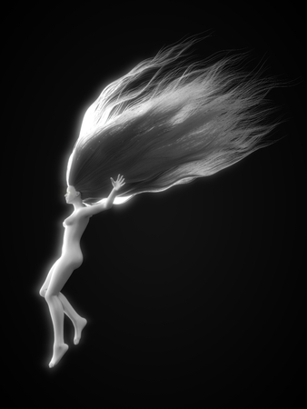 white female character with long hairs. 3d illustration