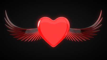winged red heart for valentines day. 3d illustration