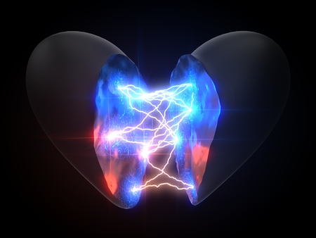 power of love. concept with lightning on heart. 3d illustration Imagens