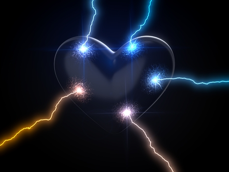 power of love. concept with lightning on heart. 3d illustration