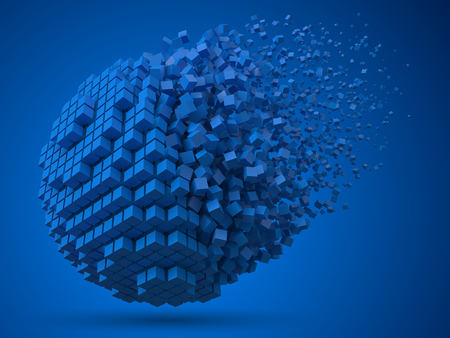 dissolving spherical data block. made with blue cubes. 3d pixel style vector illustration.  イラスト・ベクター素材