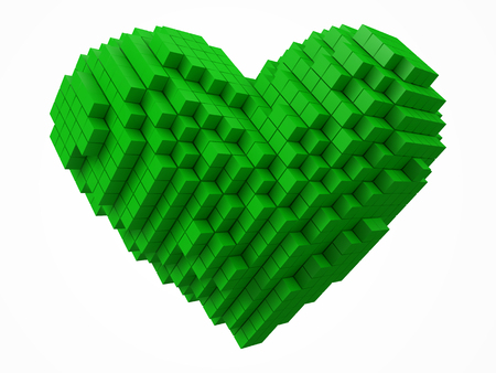 heart shaped data block. made with green cubes. 3d pixel style vector illustration.