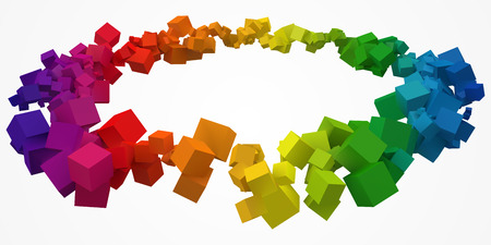 colorful cubes ring with free are on center. 3d style vector illustration.