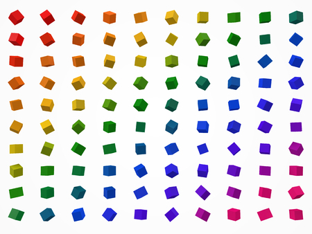 colorful cubes set. 3d style vector illustration.