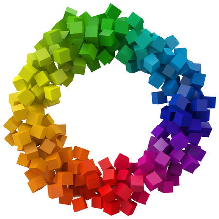 colorful cubes. 3d pixel style vector illustration.