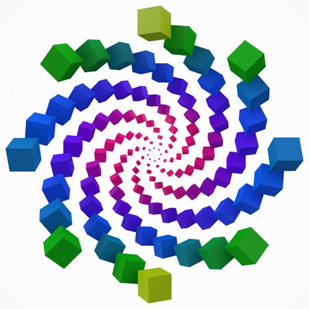 colorful cubes swirl. 3d pixel style vector illustration. Illustration