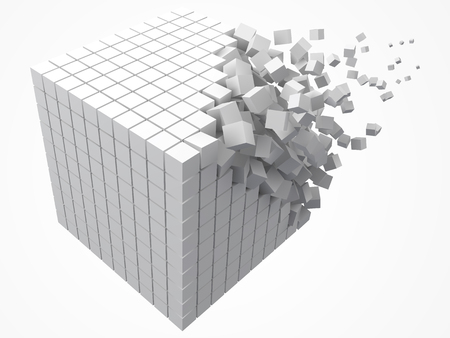 dissolving data block. made with smaller white cubes. 3d pixel style vector illustration.
