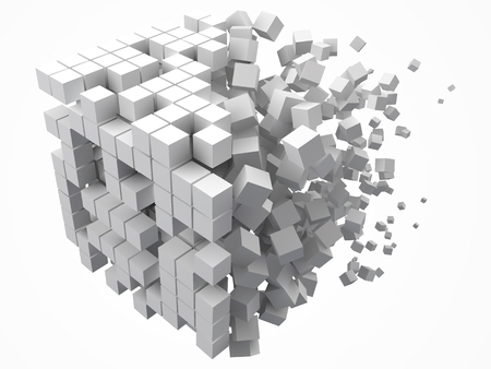 big cubic data block. made with smaller white cubes. 3d pixel style vector illustration.
