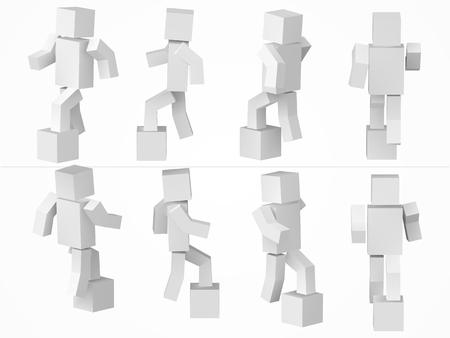 ein kubischer Charakter, der zum Kasten klettert. 3D-Stil einfache Würfel-Charakter-Illustration.