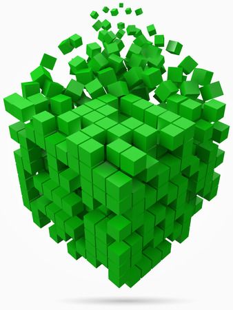 big cubic data block. made with smaller green cubes. 3d pixel style vector illustration.