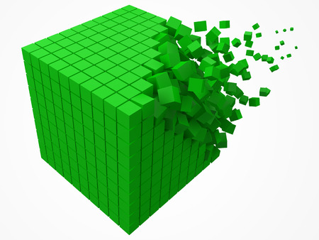 dissolving data block. made with smaller green cubes. 3d pixel style vector illustration.