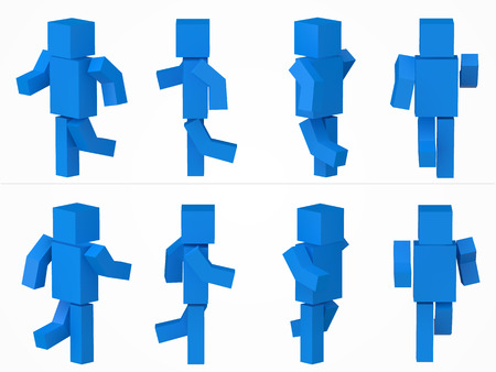 running cubic character. 3d style blue cubic character illustration.
