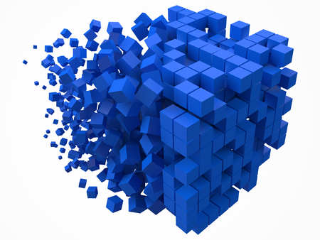 big cubic data block. made with smaller blue cubes. 3d pixel style vector illustration.