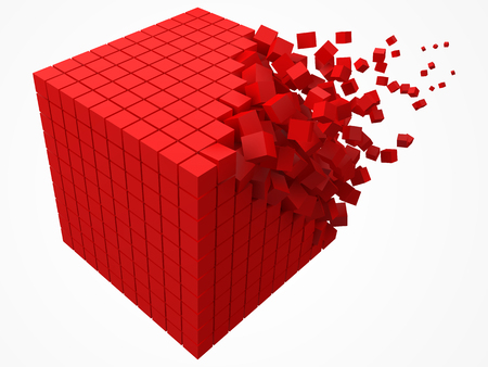 dissolving data block. made with smaller red cubes. 3d pixel style vector illustration.