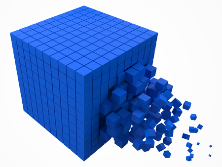 dissolving data block. made with smaller blue cubes. 3d pixel style vector illustration. Illustration