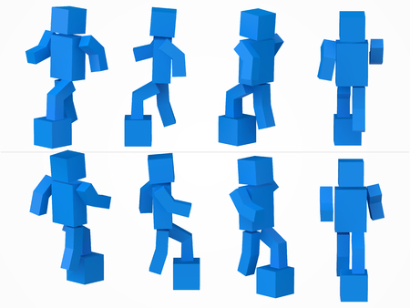 a cubic character climbing to box. 3d style blue cube character illustration. Illustration