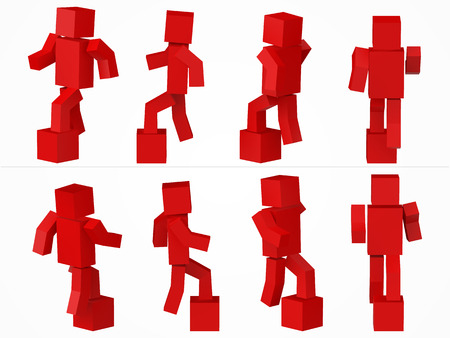 a cubic character climbing to box. 3d style red cube character illustration. Illustration