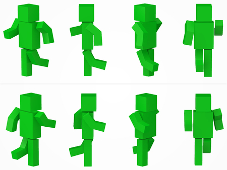 running cubic character. 3d style green cubic character illustration. Illustration