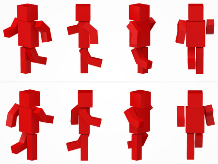 running cubic character. 3d style red cubic character illustration.