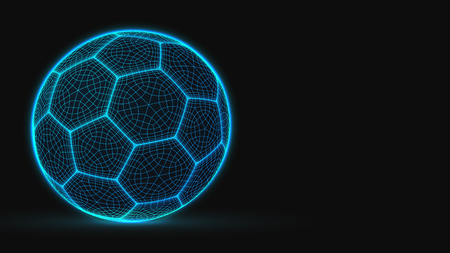 cyberpunk style soccer ball. lowpoly vector illustration