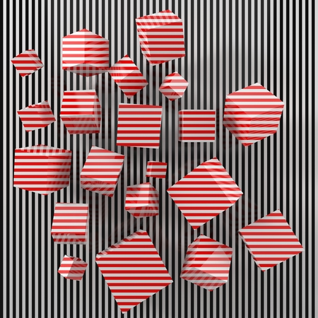 modern art concept with red painted cubes. 3d illustration.