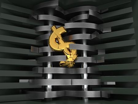 dollar dropped in shredder. economic crisis concept. 3d illustration. Stock Illustration - 117581568