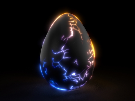 fracturing black egg in the dark. 3d illustration.