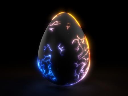 fracturing black egg in the dark. 3d illustration.