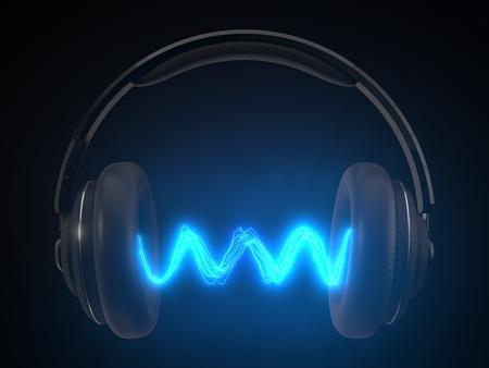 cuffia senza fili con emissione di energia. concept design per temi audiofili. illustrazione 3D Archivio Fotografico