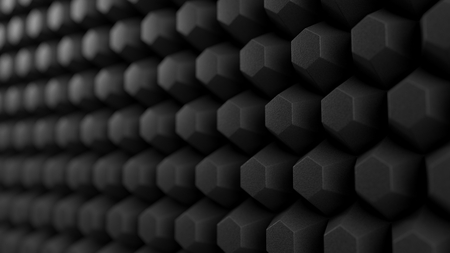 acuistic foam covered wall. silent room concept with honeycomb pattern. 3d illustration Stock Photo