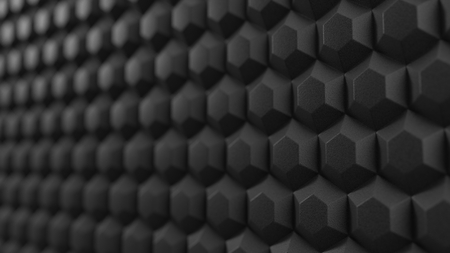 acuistic foam covered wall. silent room concept with honeycomb pattern. 3d illustration 版權商用圖片
