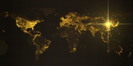 power of china, energy beam on Beijing. dark map with illuminated cities and human density areas. 3d illustration