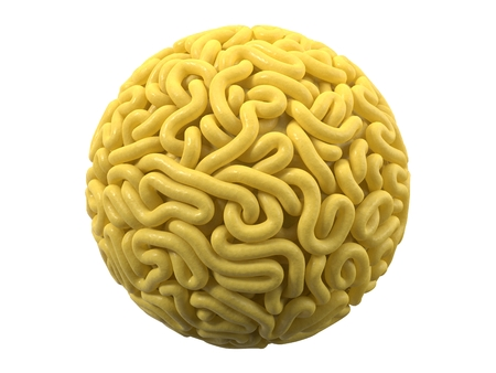 noodle in shape of ball. curly spaghetti for cooking. 3d illustration Stockfoto